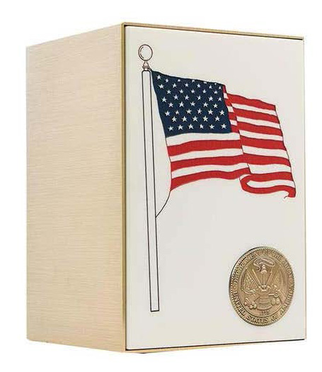Military Bronze Flag Urn